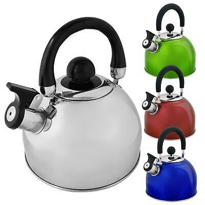 2L Stainless Steel Whistling Kettle Retro Stove Top Hob Camping Travel Teapot UK • 8.79£