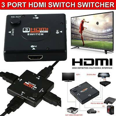 New 3 Port HDMI Switch Splitter Hub 1080p INPUT 1 OUTPUT For PS3 Xbox 360 Sky HD • 3.29£