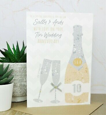 Large Personalised Handmade Tin/10th Wedding Anniversary Card, Daughter, Son • 5.99£