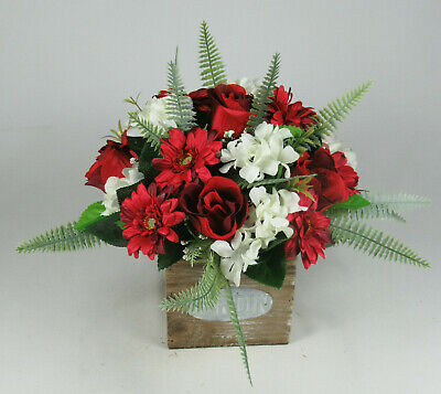 Table Arrangement In Wooden Pot All Round Artificial/Silk Flowers 20cm FREE P&P • 15.99£