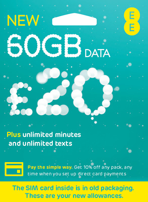 £15.99 • Buy Ee 50gb Data Sim , Preloaded With 50gb Data For Mifi Wifi Router Dongle
