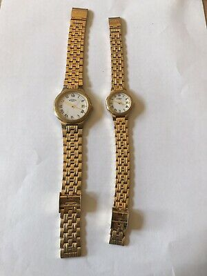 Pair Of Vintage Rotary Dress Watches - His & Hers Stainless Steel Gold Plated • 22£