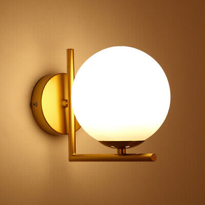Nordic Glass Lampshade Wall Lights Gold Metal Bedside Wall Lamp Fixture Sconce • 23.99£
