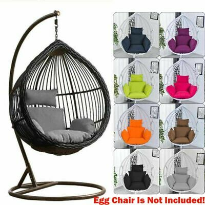 Swing Hanging Egg Rattan Chair Outdoor Garden Patio Hammock Stand Porch Cushions • 33.58£