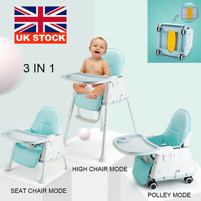 Adjustable Portable 3 In 1 Collapsible Baby High Chair Infant Feeding Seat New • 42.39£