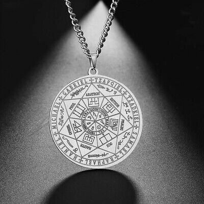Six Star Pendant Stainless Steel Scripture Rune Protection Amulet Necklace Gifts • 2.81£