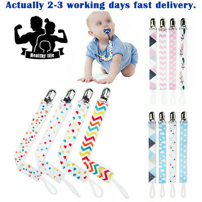 4X Dummy Clips Baby Boys Girls Soother Chain Holder Strap Pacifier Modern Design • 5.49£