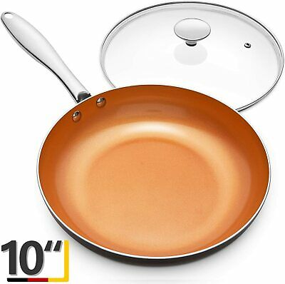 $39.99 • Buy 10 Inch Small Copper Frying Pan With Lid Non Stick With Ceramic Titanium Coating