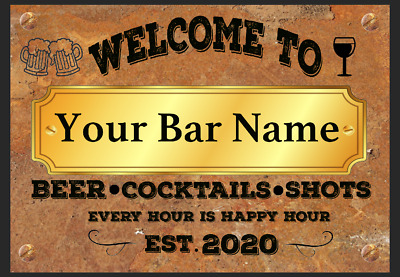 Funny Personalised Bar Sign, Metal Tin Sign Plaque Man Cave Shed Garage Home Pub • 4.99£