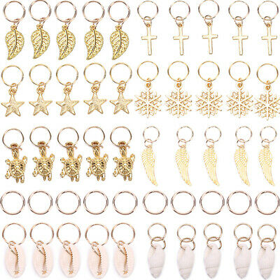 $9.25 • Buy 50x Gold Shell Snowflake Pendant Rings Hair Clip Accessory For Braid Jewelry G3