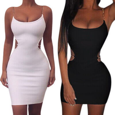 Women Sexy Strappy Chain Mini Bodycon Dress Evening Cocktail Party Pencil Dress • 11.77£