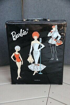 $ CDN20 • Buy VINTAGE 1963 Barbie Black Vinyl Carrying Case/Wardrobe By Mattel
