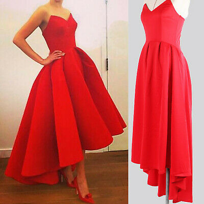 Womens V Neck Bandeau High Low Long Maxi Dress Formal Wedding Evening Party Gown • 19.56£