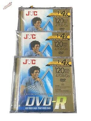 £4.34 • Buy JVC DVD-R 120 Min 4.7 GB Recordable Disc - Set Of 3 - New, Factory Sealed