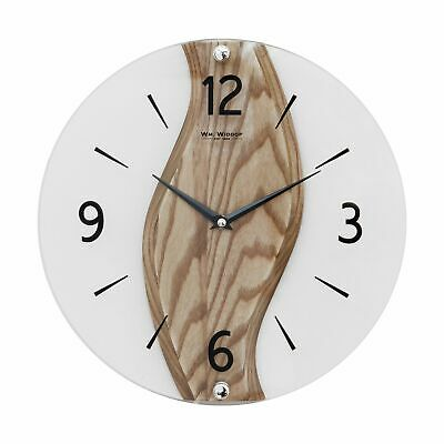 Contemporary Solid Oak & Glass Round Wall Clock 30cm • 39.98£