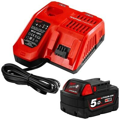 AU199 • Buy Genuine Milwaukee 18V 5.0Ah Li-ion Cordless Battery And Charger Pack
