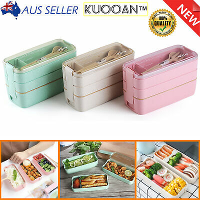 AU11.99 • Buy 900ml 3-Layer Bento Box Students Lunch Box Eco-Friendly Rectangle Food Container