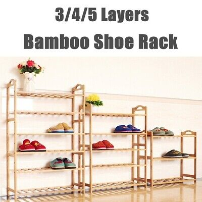 AU24.99 • Buy Bamboo Shoe Rack Storage Organizer Wooden Shelf Stand Shelves 3/4/5 Tiers Layers
