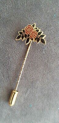 Red Rose Lancashire  Metal Gold Tone Tie PIn Mens Floral Tie Pin  • 2.50£