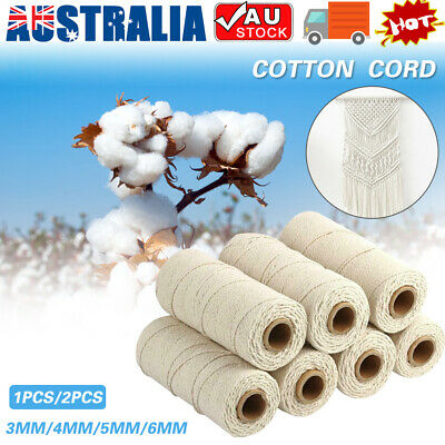 AU12.91 • Buy 3/4/5/6 Mm Macrame Rope Natural Beige Cotton Twisted Cord Artisan Hand Craft AU