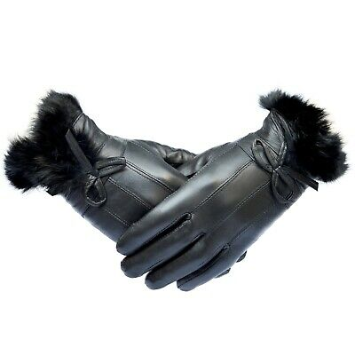 Ladies Genuine Leather Touch-Screen Thermal Gloves - Perfect Stocking Filler • 8.99£