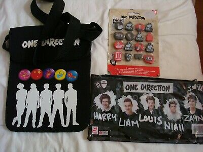 ONE DIRECTION PENCIL CASE,BAG FOR IPAD TABLET Etc. & PACK OF 16  NOVELTY ERASERS • 4.99£