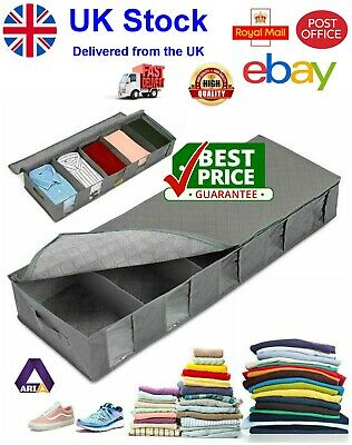 Large Capacity Under Bed Storage Bag Box 5 Compartments Clothes Shoes Organizer • 7.99£