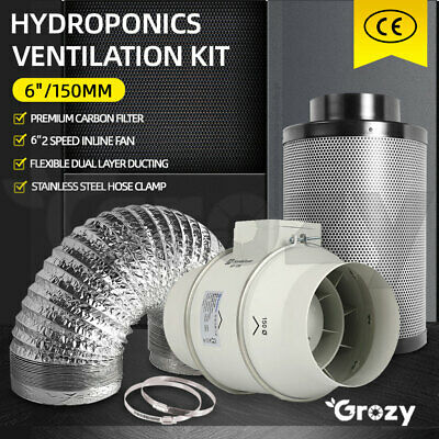 AU259 • Buy Hydroponics 6 Inch Ventilation Kit Carbon Filter 2 Speed Inline Fan Duct Combo
