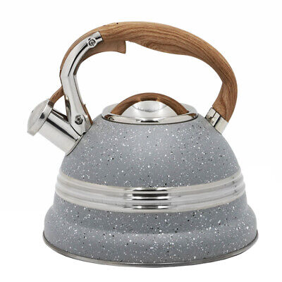 Grey Whistling Kettle 2,7L Stainless Steel Hob Stove Gas Fast Boil Handle Gift • 21.42£