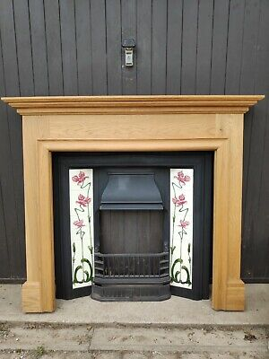 Victorian Style Cast Iron Fireplace W/ Oak Surround + Accessories - Used Once! • 400£