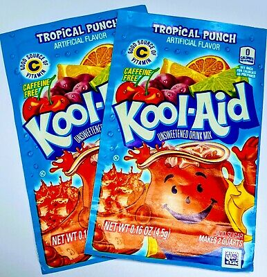 KOOL AID 2X 4.5G TROPICAL PUNCH Packet FREE 📫 Makes 3.8 LITERS US IMPORT • 2.80£