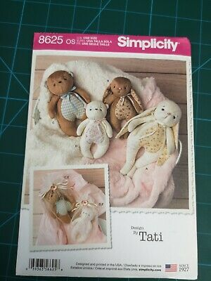 SIMPLICITY Sewing Patterns~8625 Childs Childrens Baby Stuffed Animals+Gift Bags • 4.29£