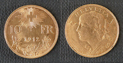 $295 • Buy Rare 1912 B - 10 Francs Swiss Helvetia Gold Coin