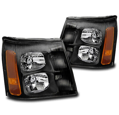 $141.95 • Buy For 2002 Cadillac Escalade Base/ext Black Replacement Headlights Headlamp New