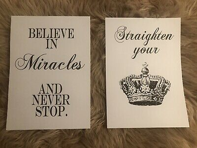 Home Wall Art Set Of 2 Typography Prints - Crown - Dreams Bedroom Quotes A4 • 4.99£