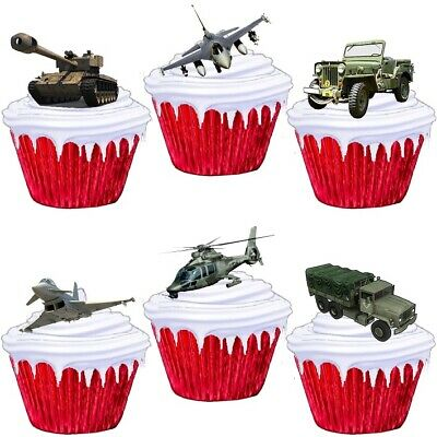 £1.99 • Buy Military Vehicles Army Stand Up Cake Toppers Edible Birthday Party Decorations