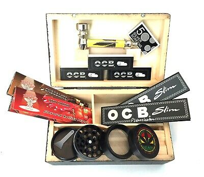 BLACK WOODEN ROLLING STASH BOX With RAW OCB KING SIZE PAPERS ROACHES SHREDDER • 14.99£