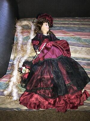 "$ CDN25.25 • Buy Porcelain Doll 22"" Burgundy Dress Hat Parasol Lace Cloth Body Metal Stand Lot 3"
