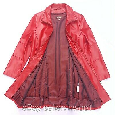 $ CDN189.99 • Buy DANIER Small Red Soft Leather Long Sleeve Full Zip Collared Fall Coat Jacket