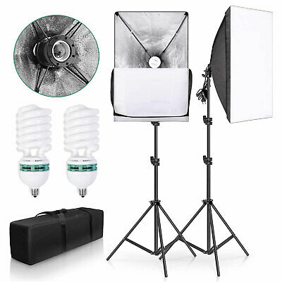 Photography Studio 2x135W Softbox Continuous Video Lighting Soft Box Stand Kit • 32.99£