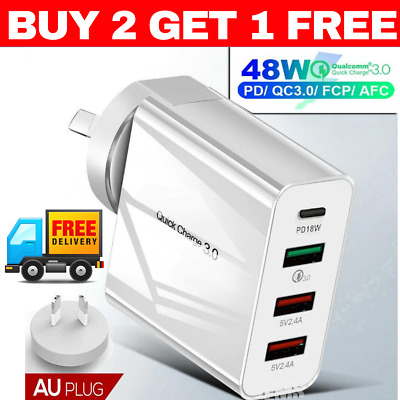 AU19.95 • Buy WHITE QUALCOMM QC3.0 48W 4 PORT TYPE C FAST WALL CHARGER PLUG Adapter