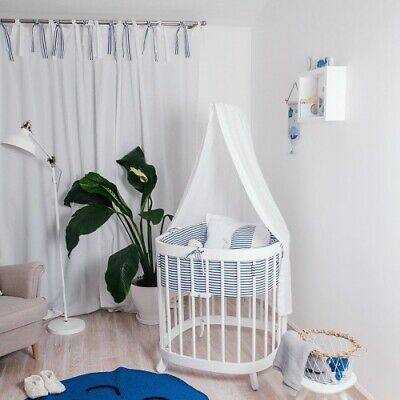 Baby Bedside Round Crib Bassinet Toddler Cot Bed 7 In 1 White Quilted Mattress • 369.99£