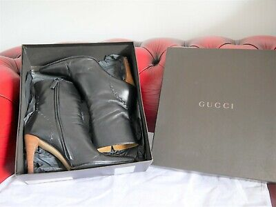 Gucci Black Leather Heel Boots With Box - Size 37 C - 10402860 • 60£