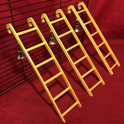 3 Hamster Ladder Bell Plastic 9  Yellow Interactive Cage Boredom Exerciser Mouse • 9.99£