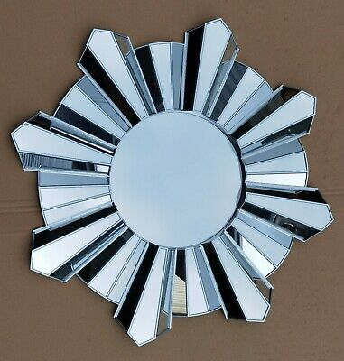 Contemporary 65cm Hanging Mirror Sunburst Home Decor Round Wall Mounted Silver • 29.99£