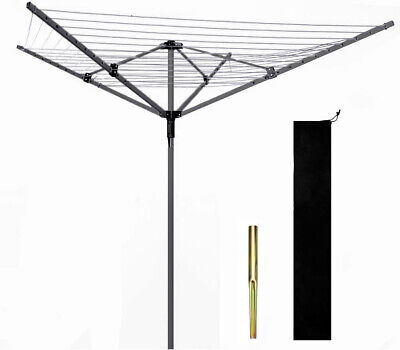 £39.99 • Buy 4 Arm Rotary Washing Line Airer 50m Heavy Duty Clothes With Metal Spikes Cover