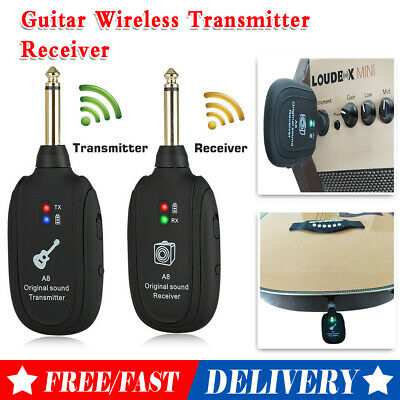 2.4G Guitar Bass Wireless System Transmitter Receiver Rechargeable 50M 4Channels • 16.39£