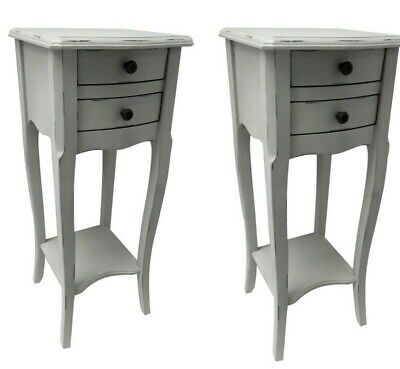 £129.50 • Buy Pair Rubbed Grey 2 Drawer Bedside Chest Bedroom French Furniture Shabby SECONDS