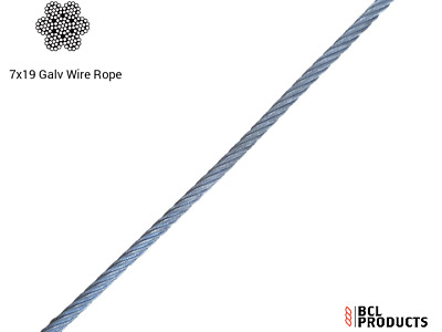 £1.35 • Buy Galvanised Wire Rope 7x19 Steel Core - Flexible & Strong - 3mm 4mm 5mm 6mm