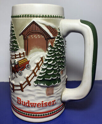 $ CDN26.17 • Buy 1984 Budweiser Holiday Beer Stein Mug Hitch Covered Bridge Snow Horses Vintage